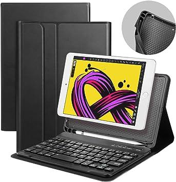Funda con Teclado iPad Mini 5ª Generación 2019 / iPad Mini 4, Teclado Español Bluetooth inalámbrico extraíble con Funda de Cuero de PU para Apple iPad ...