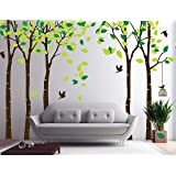 "CaseFan 5 Trees Wall Stickers Forest Mural Paper for Bedroom Kid Baby Nursery Vinyl Removable DIY Decals 103.9x70.9"",Green"