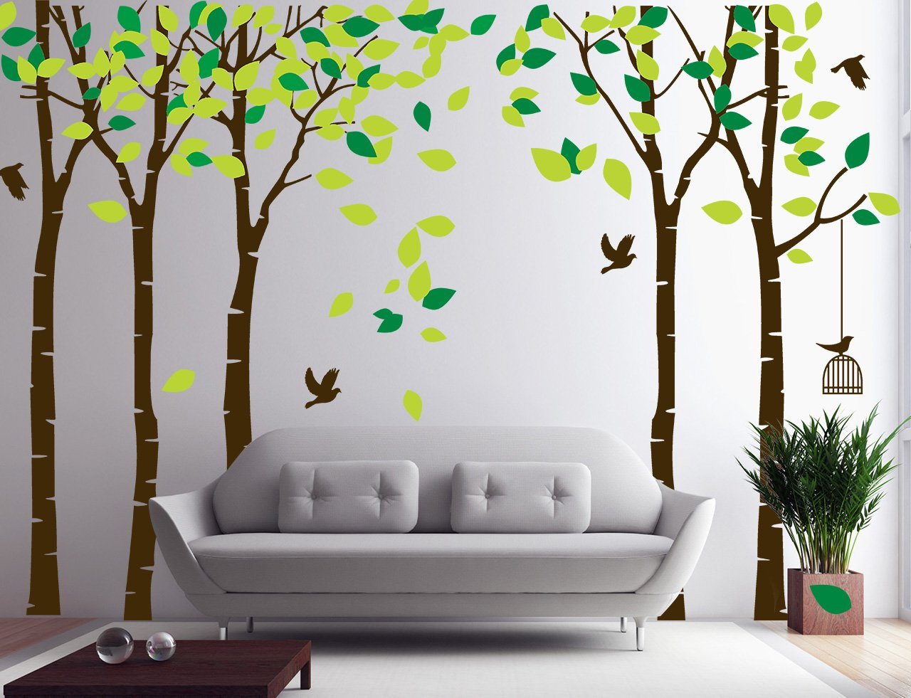 Five Trees Wall Decals Sticker - Forest Birch Mural Paper for Bedroom Kid Baby Nursery Vinyl Removable Woodland DIY Decals 103.9x70.9, Green+Brown by Fymural
