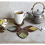 An Coaster Tea Coffee Mug Tabletop Barware Set of 4 Wooden Hand Carved Burnt Finish Colorful Dining Accessories Home Decor