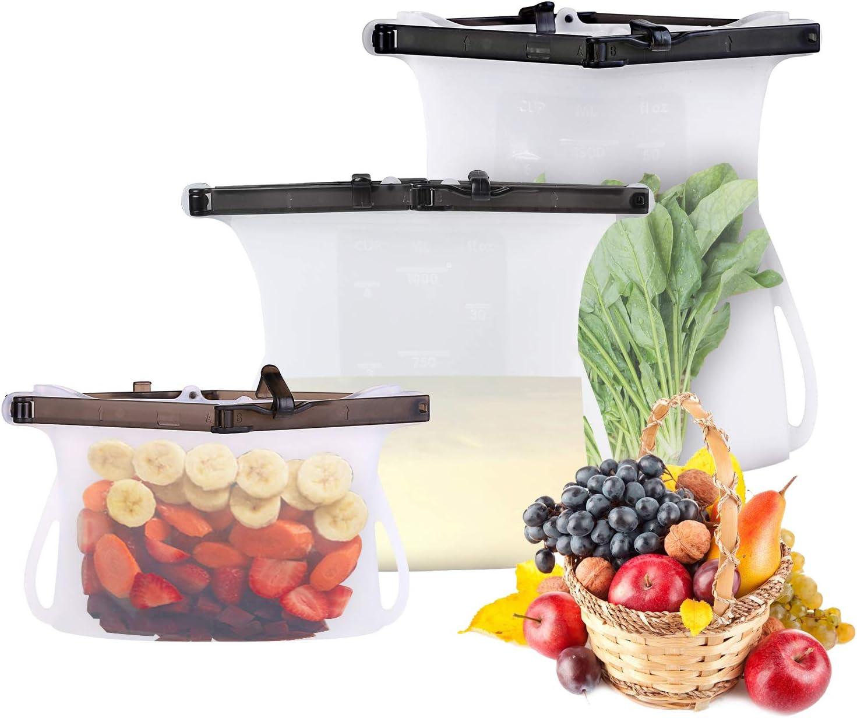 CKoishx Reusable Silicone Food Grade Reusable Storage Bag,Lunch Bag Freeze Leak-Proof, Microwave and Dishwasher Safe, Diamond open,50.7 Oz /33.8 Oz/16.9Oz (Transparent-3Set, 16.9Oz+33.8Oz+50.7Oz)