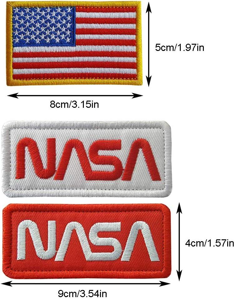 Crochet et Boucle 6 pi/èces Patch brod/é en Forme de NASA Iron on Patch//Sew on Badge for Astronaut Space Fancy Dress Costume Jacket /à Coudre Tactique Drapeau Patch