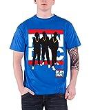 Run DMC classic band logo silhouettes nouveau officiel Homme Bleu T Shirt