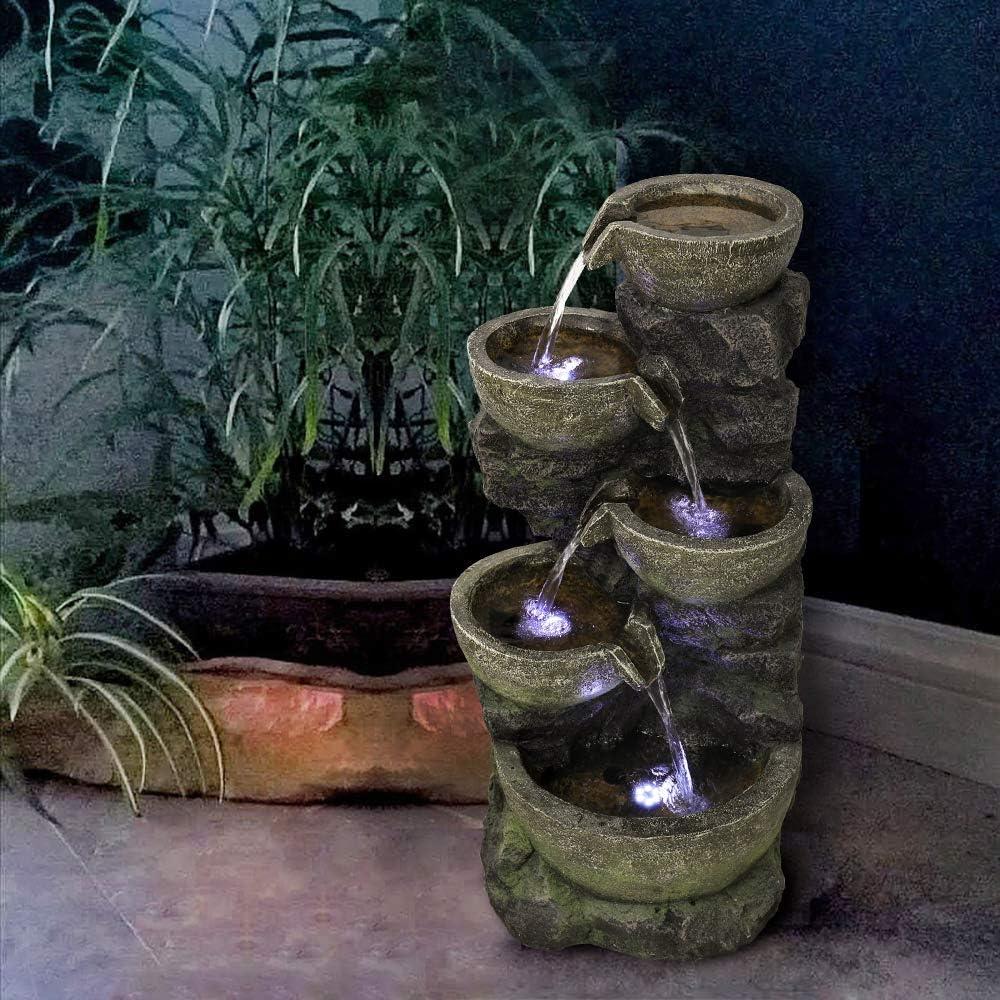 "Resin Fiberglass Freestanding Waterfall Fountains Features Calming/&Relaxing PeterIvan Outdoor Water Fountain 32/"" H 5 Urns Falling Water Indoor-Outdoor Fountain with Lights for House or Garden Decor"