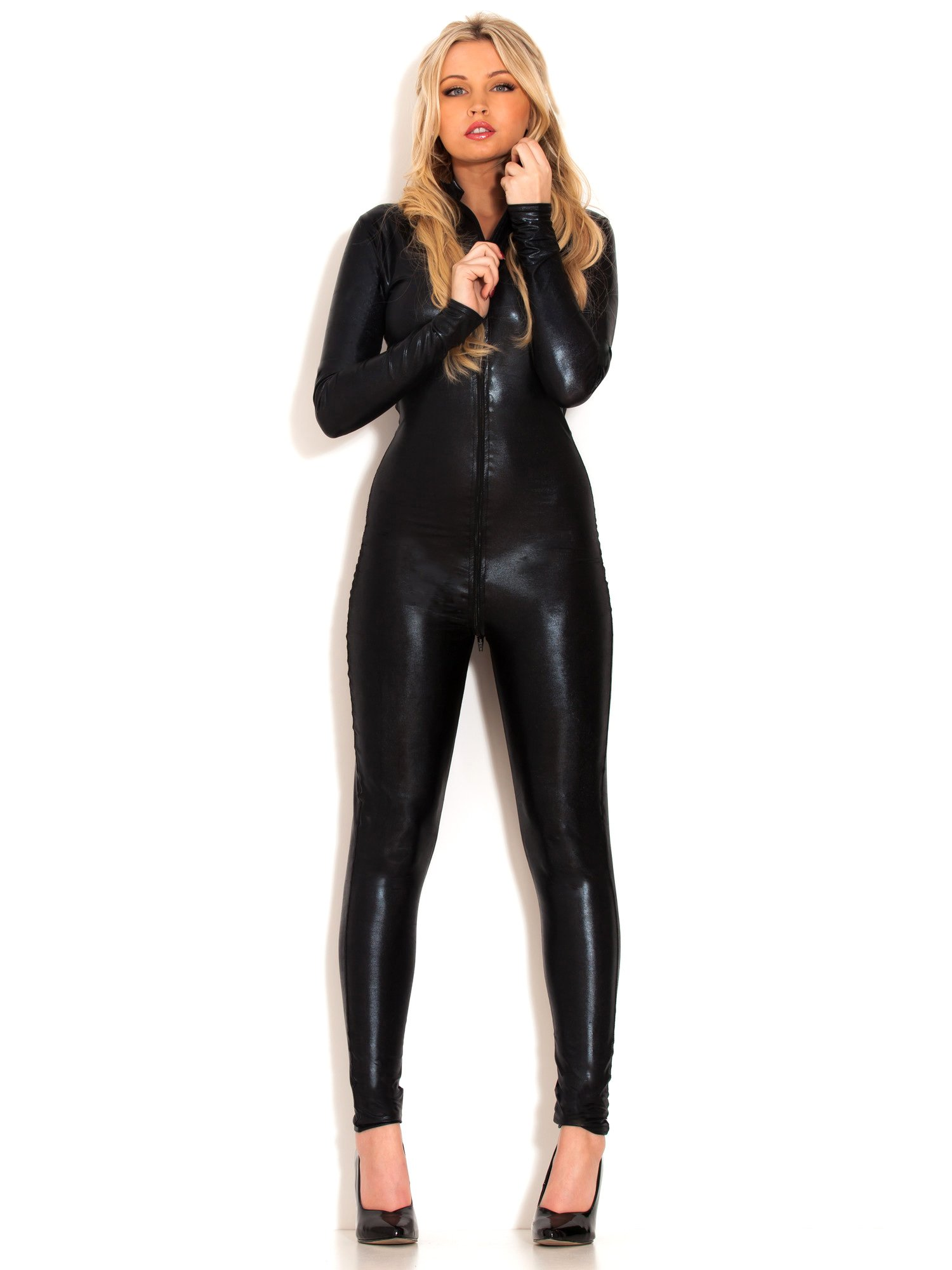 Honour Women's Catsuit in Wetlook Black Size UK 12-14 (M-L)