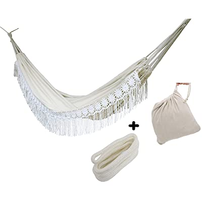 Handmade Large Brazilian Natural Ecru Cotton Hand Woven Hammock with White Crochet Fringe, Deluxe Style Beautiful White Lace Wedding Hammock, Festive Brazil,with Tree Ropes and Carry Bag: Clothing