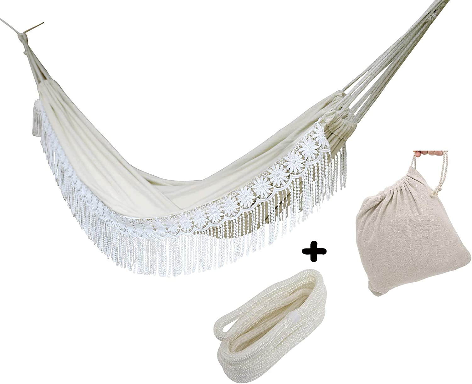 Boho Large Handmade Brazilian Natural Ecru Cotton Hand Woven Hammock with White Crochet Fringe, Macram Double Deluxe White Lace Wedding Hammock with Tree Rope and Carry Bag