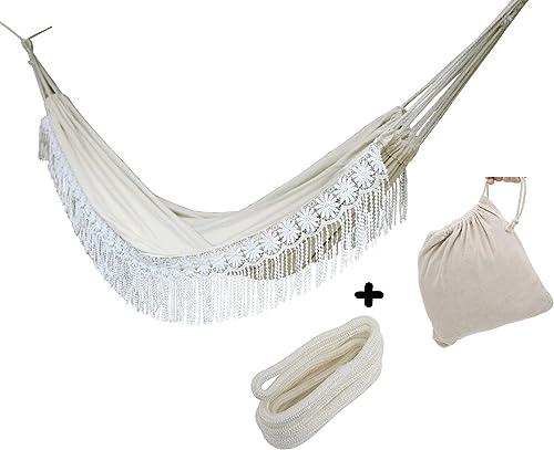 Langjitianya Boho Large Double Brazilian Crochet Fringe Hammock with Tree Rope and Bag, White Lace Wedding Hammock