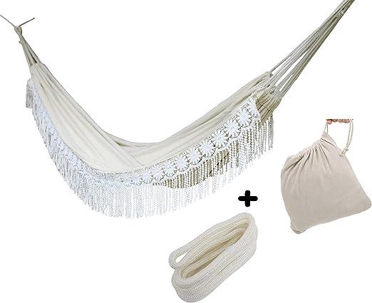 Langjitianya - Hamaca de algodón Natural brasileño de 2 Personas ...
