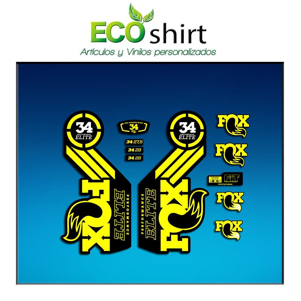 Ecoshirt HT-C20O-YRJ4 Stickers Fork Fox 34 Performance Elite 2016 Am101 Aufkleber Decals Autocollants Adesivi Forcela Gabel Fourche Yellow