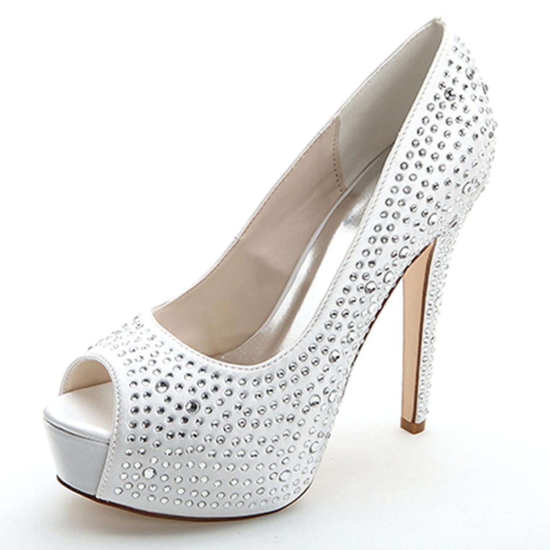 Elobaby Mujeres de Plata Rhinestone de La Boda 3128-14 Fiesta de Graduación Nupcial Bajo Gatito Talón Diamante Zapatos de La Corte Bombas 39 EU|White