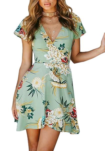 6770046d5753 Estivo Vestiti con Bende Donna Moda Stampa Corto Vestito da Spiaggia Sexy V  Collo Manica Corta Abito da Vacanza Partito Festa  Amazon.it  Abbigliamento