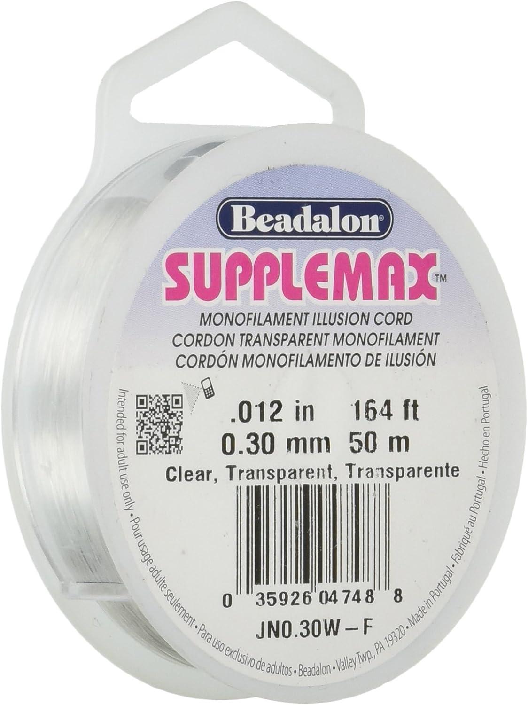 Beadalon Supplemax 0.30 mm Nylon Bead Stringing Material 0.012 Clear Monofilament Illusion Cord, 164 ft 50 m
