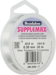 "Beadalon Supplemax 0.30 mm (0.012"") Nylon Bead Stringing Material, 50 m (164 ft), Clear Monofilament Illusion Cord,"