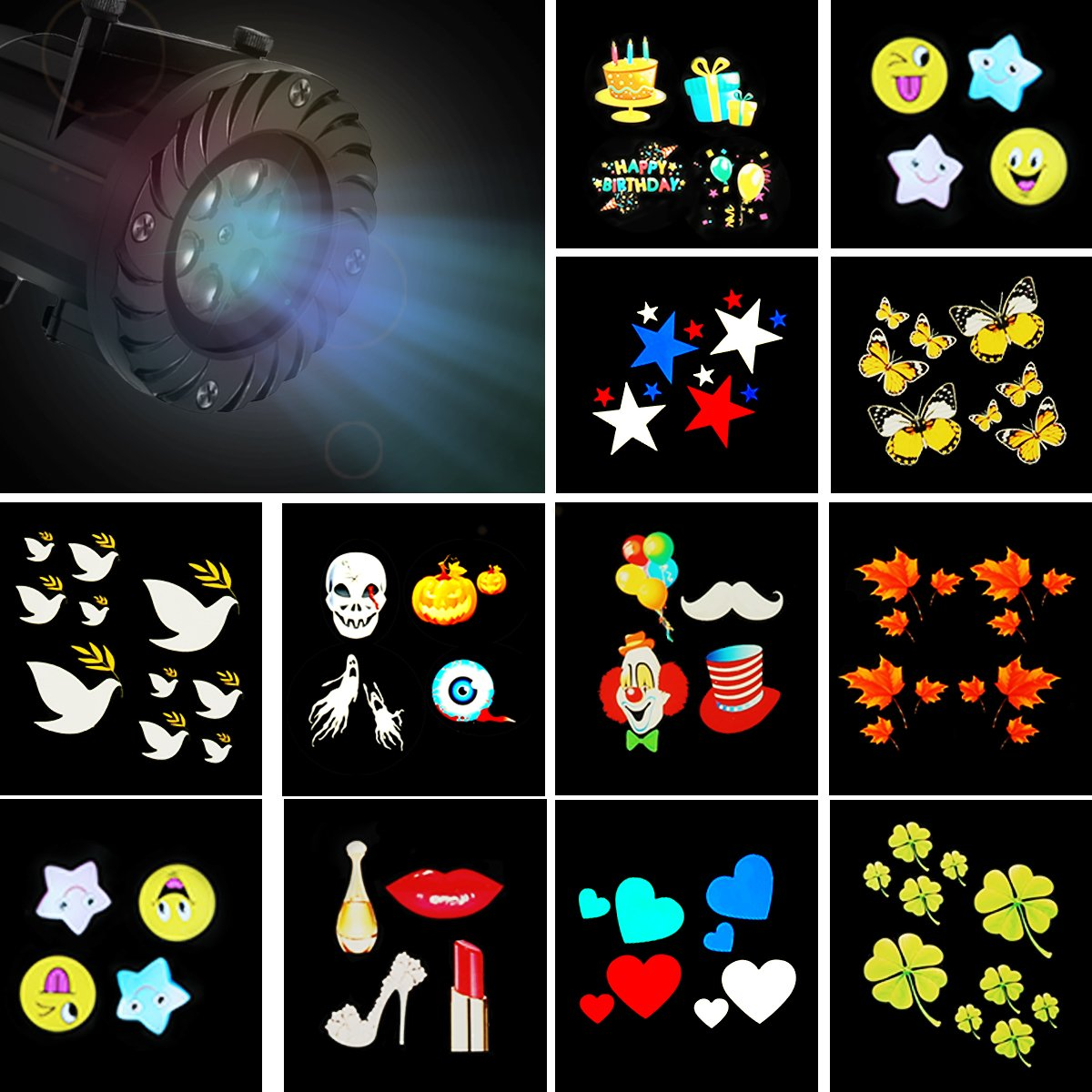 Christmas Projector Lights, JELEGANT LED Landscape Lights Projector Spotlights with Remote Control Waterproof Decoration Lighting with 12pcs Switchable Pattern Show for Halloween Holiday Party by JELEGANT (Image #4)