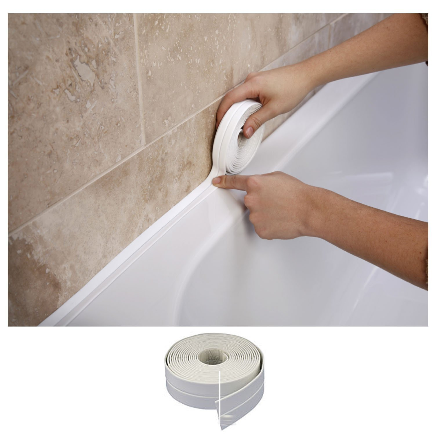 Bath & Wall Sealing Strip 38mm x 3.35m by SupaDec: Amazon.co.uk: DIY ...