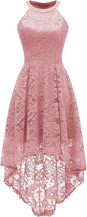 TALLA XL. Dressystar Rockabilly Vestido de cóctel para Mujer, asimétrico de Encaje Rubor XL