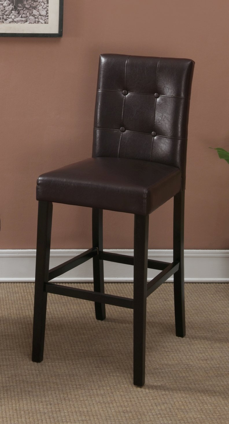 Amazon com dark brown leather bar stools set of 2 tufted parson bar chairs kitchen dining