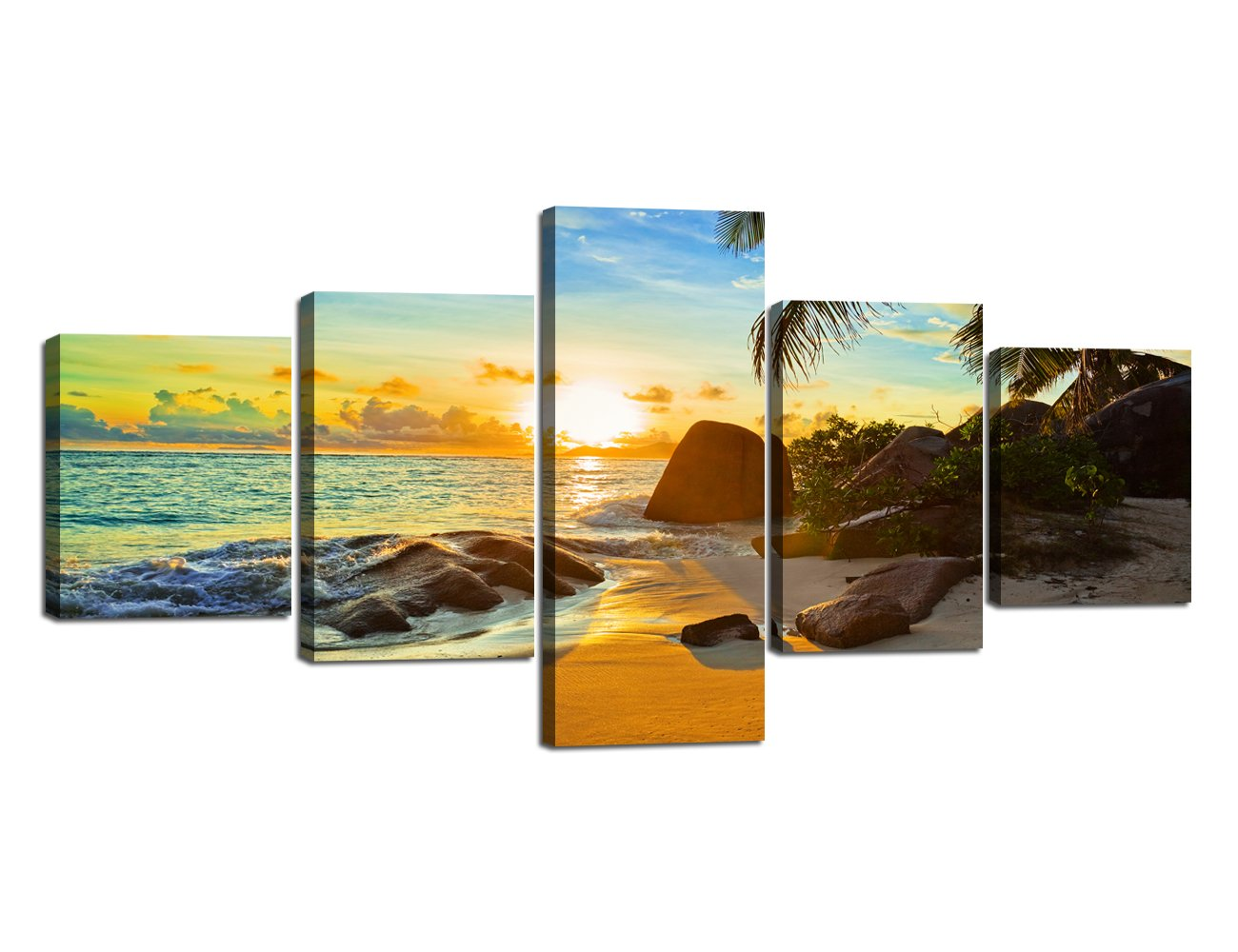 Ocean_25 Small Size Scene of Sea Waves Palm Tree Landscape Picture Modern Painting on Canvas 5 Piece Framed Wall Art for Living Room Bedroom Kitchen Home Decor Stretched Gallery Canvas Wrap Giclee Print (60''W x 32''H)