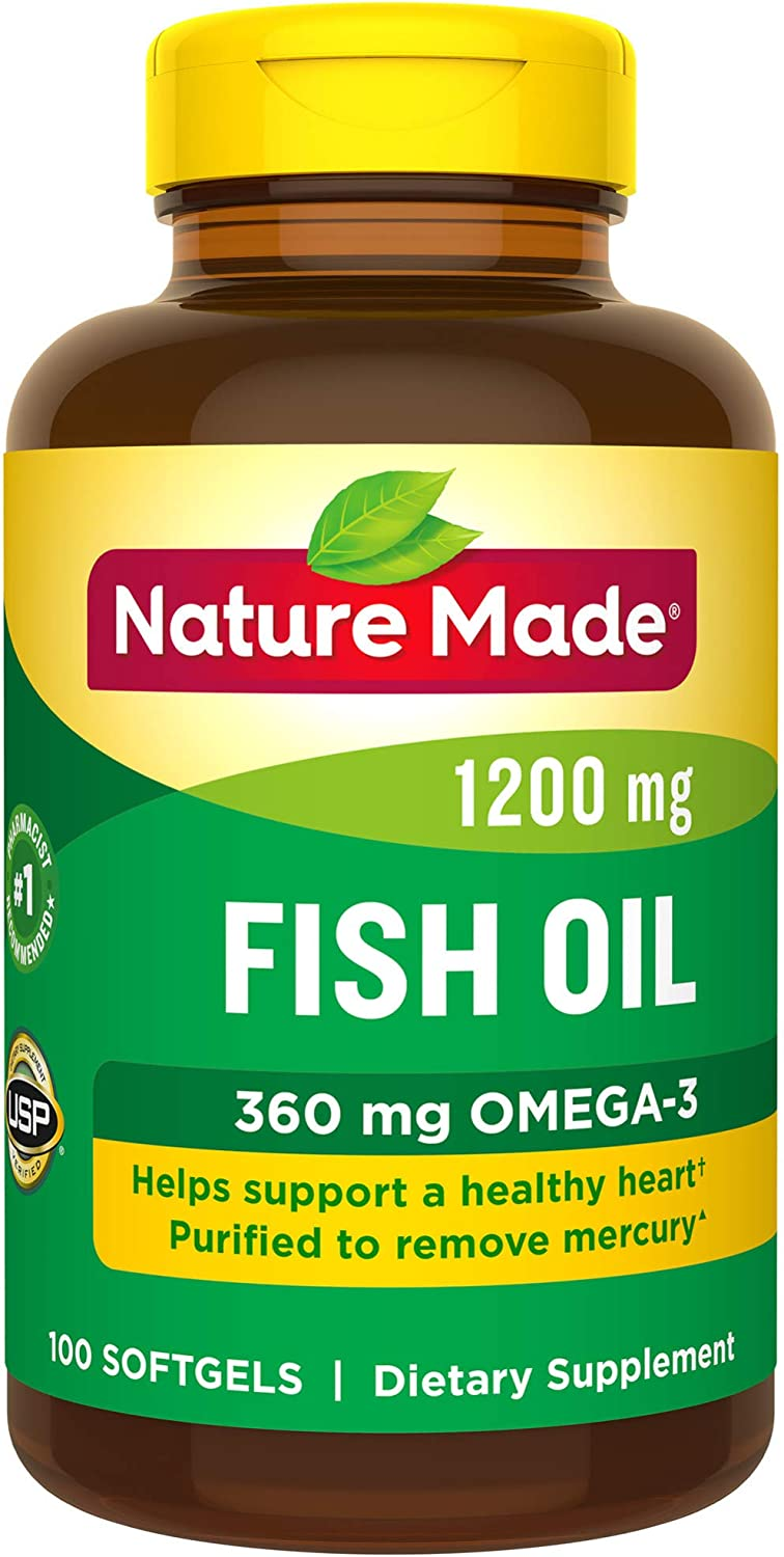 Nature Made Fish Oil 1200 mg Softgels, 100 Count for Heart Health† (Packaging May Vary)