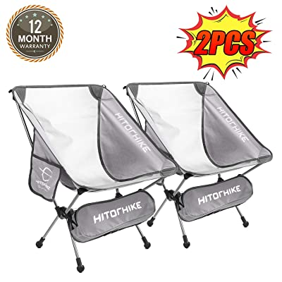 Hitorhike Camping Chair Breathable Mesh Construction 2 Side Pockets Aluminum Frame Camp Chair with Carry Bag Compact and Lightweight Folding Chair for Backpacking and Camping (Gray Two Pcs) : Sports & Outdoors