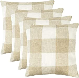 MENGT Pack of 4 Farmhouse Buffalo Check Plaid Cotton Linen Soft Solid Decorative Square Throw Pillow Covers Home Decor Design Set Cushion Case for Sofa Bedroom Car 18 x 18 Inch, Cream and White