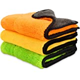 """iTavah Car Detailing Towels Pack of 3 15""""x17"""" Ultra-Thick Microfiber Polishing Waxing Drying Cleaning Towel Cloth 840GSM"""