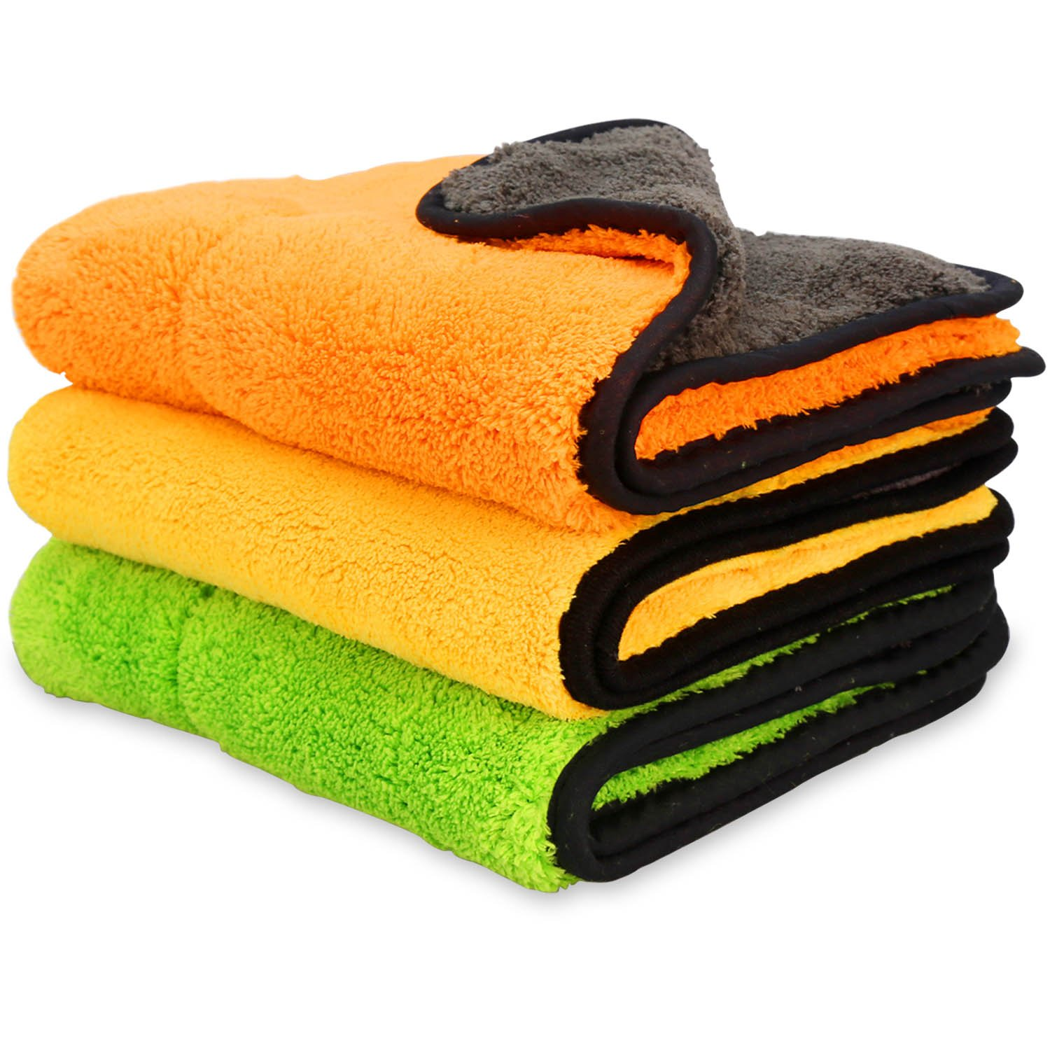 iTavah Car Microfiber Cleaning Cloths Lint Free Dual Layer Drying Auto Detailing Towel for Car & Motorcycle 840gsm(Pack of 3) ND001500