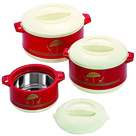 Cello Chef Plastic 500, 850 ml and 1.5 L Casserole  Maroon  Set of 3 Serving Casseroles   Tureens