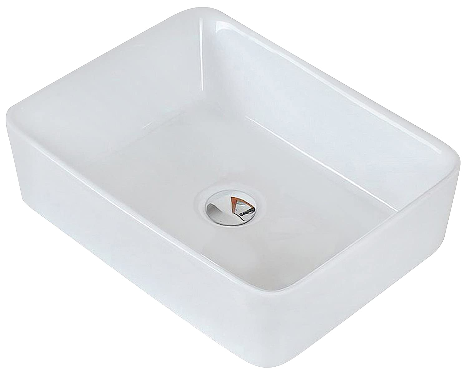 American Imaginations 18.75-in. W x 14.75-in. D Above Counter Rectangle Vessel In White Color For Deck Mount Faucet, AI-10-155