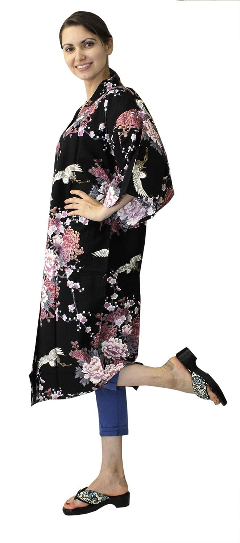 4c060a891 Japanese Women's Kimono Robe Happi Coat Dress Cotton Crane Peony Black at  Amazon Women's Clothing store: