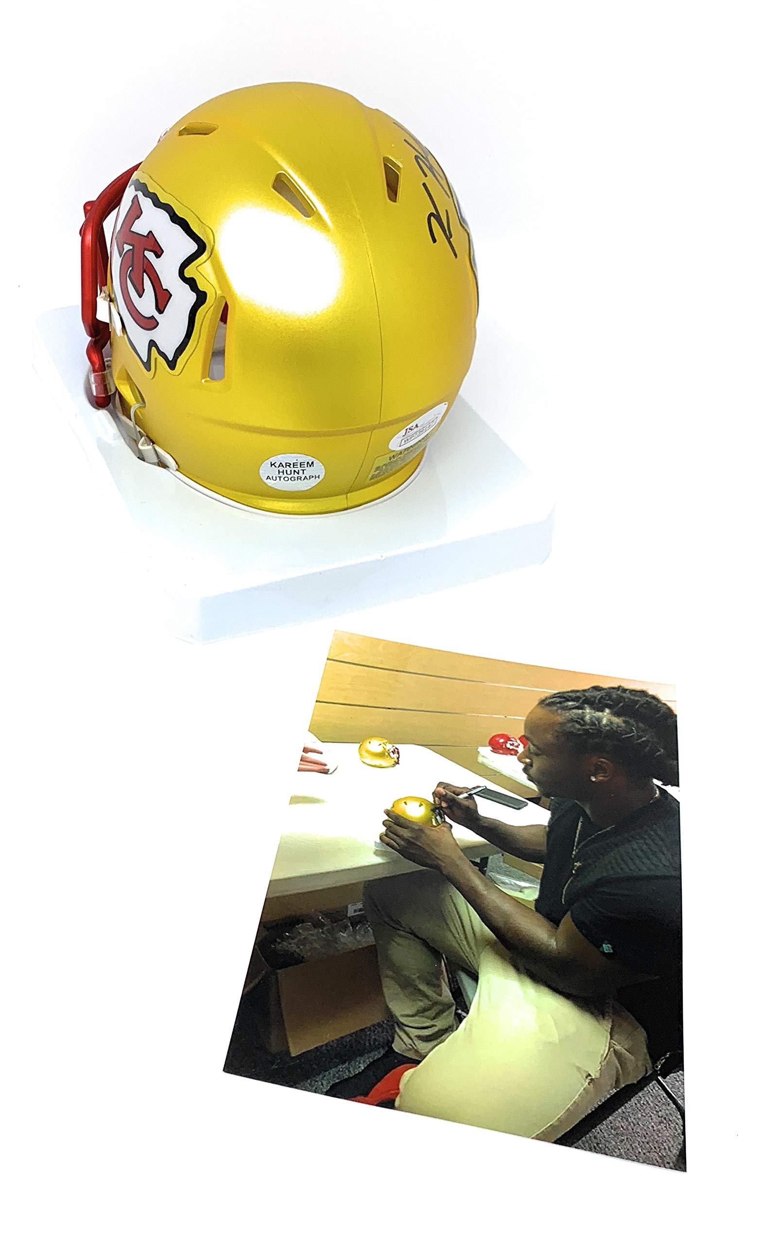 Kareem Hunt Kansas City Chiefs Signed Autograph BLAZE Speed Mini Helmet Hunt Player Hologram JSA Witnessed Certified