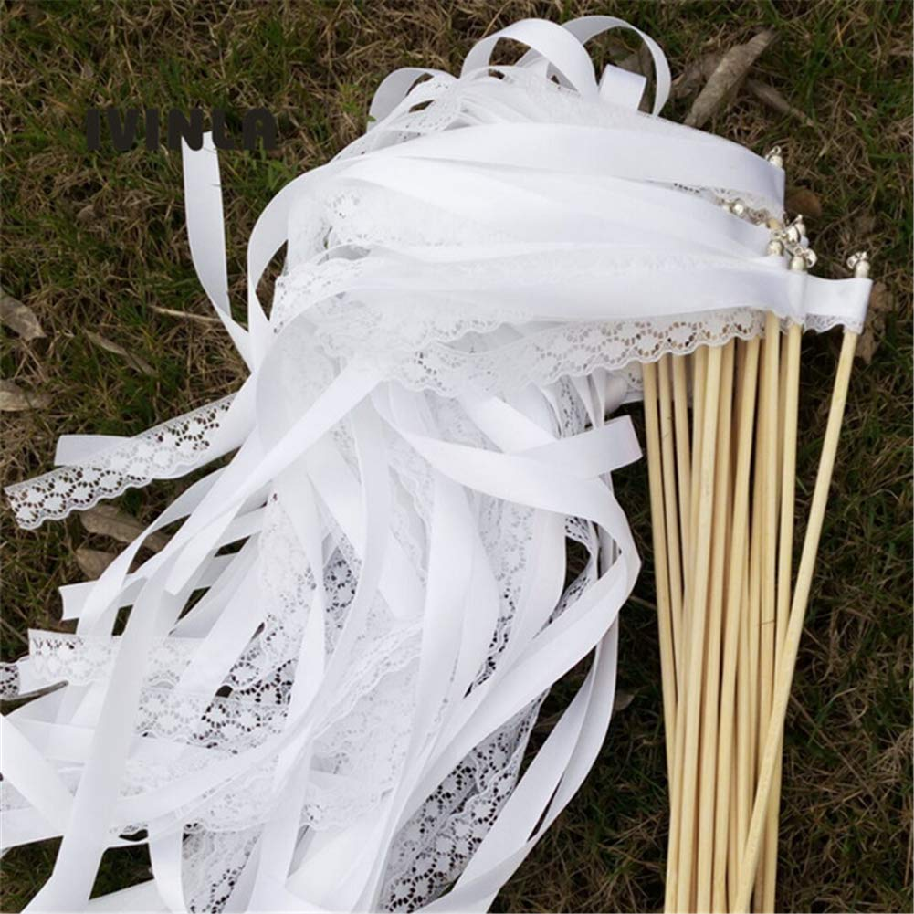 50pcs White Lace Ribbon Stick Twirling Streamers Wedding Wands Sliver Bell for Wedding Party Decoration