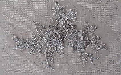 A pair silver floral lace appliques silver cords tulle lace collar motifs