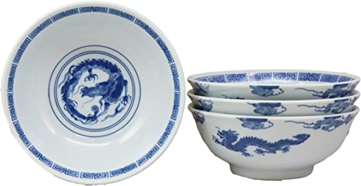 Ebros Gift Blue And White Ming Dynasty Style Floral Blossoms Ceramic Bowls Pack Of 5 Made In Japan Ramen Pho Soup Bowl Set 32oz 8Dia Asian Dining Restaurant Supply Grade Microwave Dishwasher Safe
