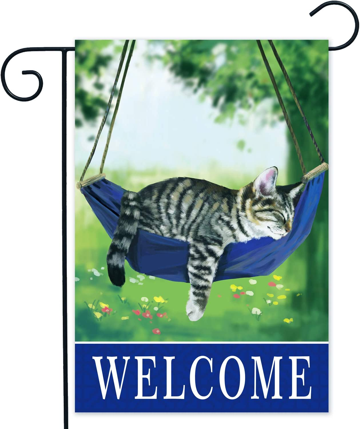 Greneric Welcome Cute and Funny Sleeping Cats, cat Garden Flags, Welcome Spring cat Garden Flag, Suitable for cat Lovers, Double-Sided Garden Flags 12X18 inch, pet Garden Flags,Black cat Garden Flag