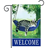 Welcome fall cat garden flags for outside 12x18, four seasonal flags with cats double sided house flags, fall House Yard Lawn