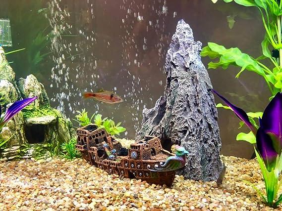 SLOME - Adornos para Acuario, diseño de Barco Pirata, Material de Resina, ecológicos, para Acuario de Agua Dulce y Agua Salada: Amazon.es: Productos para ...