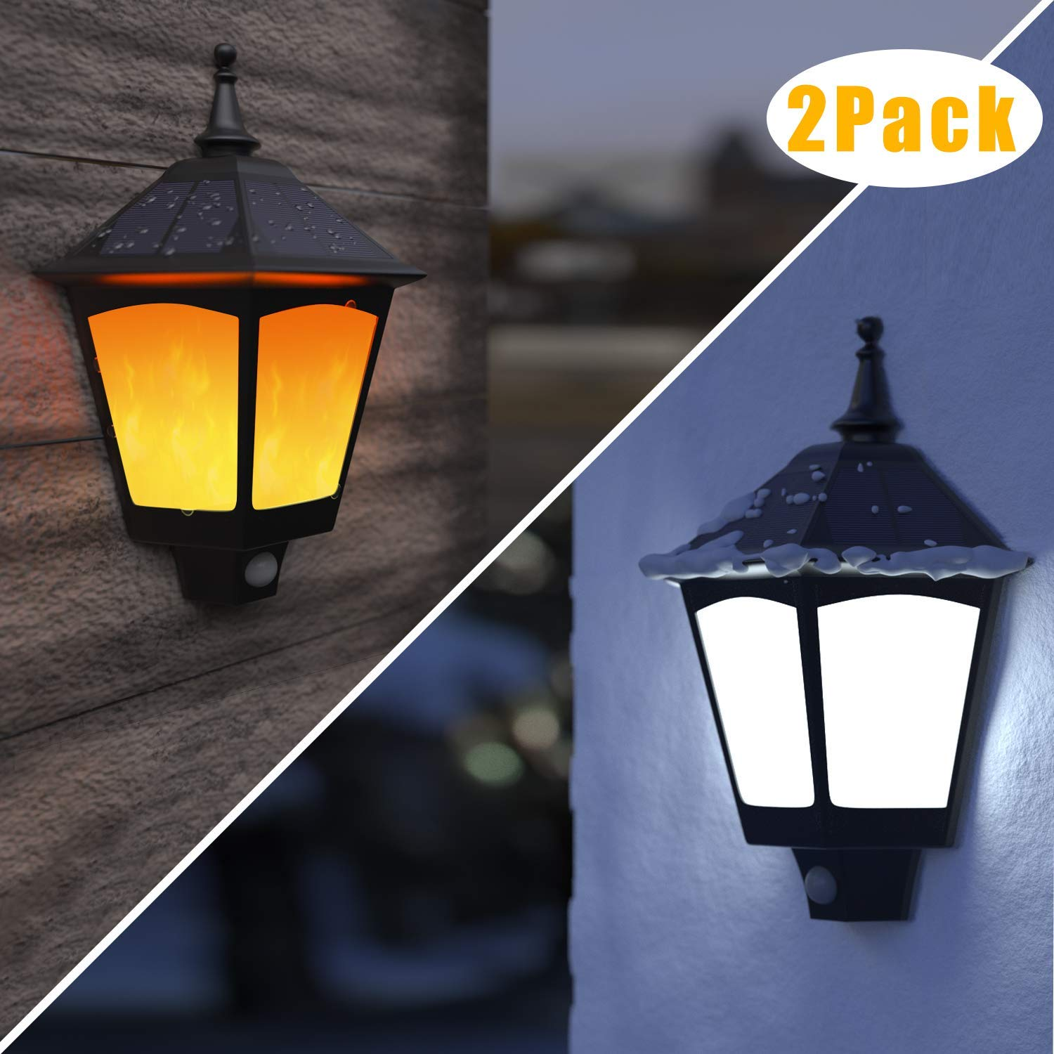 Solar Lights Outdoor Decorative - ALOVECO 2 in 1 Solar Wall Sconce, Solar Torch Lights with Flickering Flame, 87 LEDs Solar Motion by ALOVECO