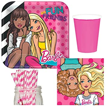 BARBIE AND FRIENDS LARGE PAPER PLATES 8 ~ Birthday Party Supplies Dinner Pink