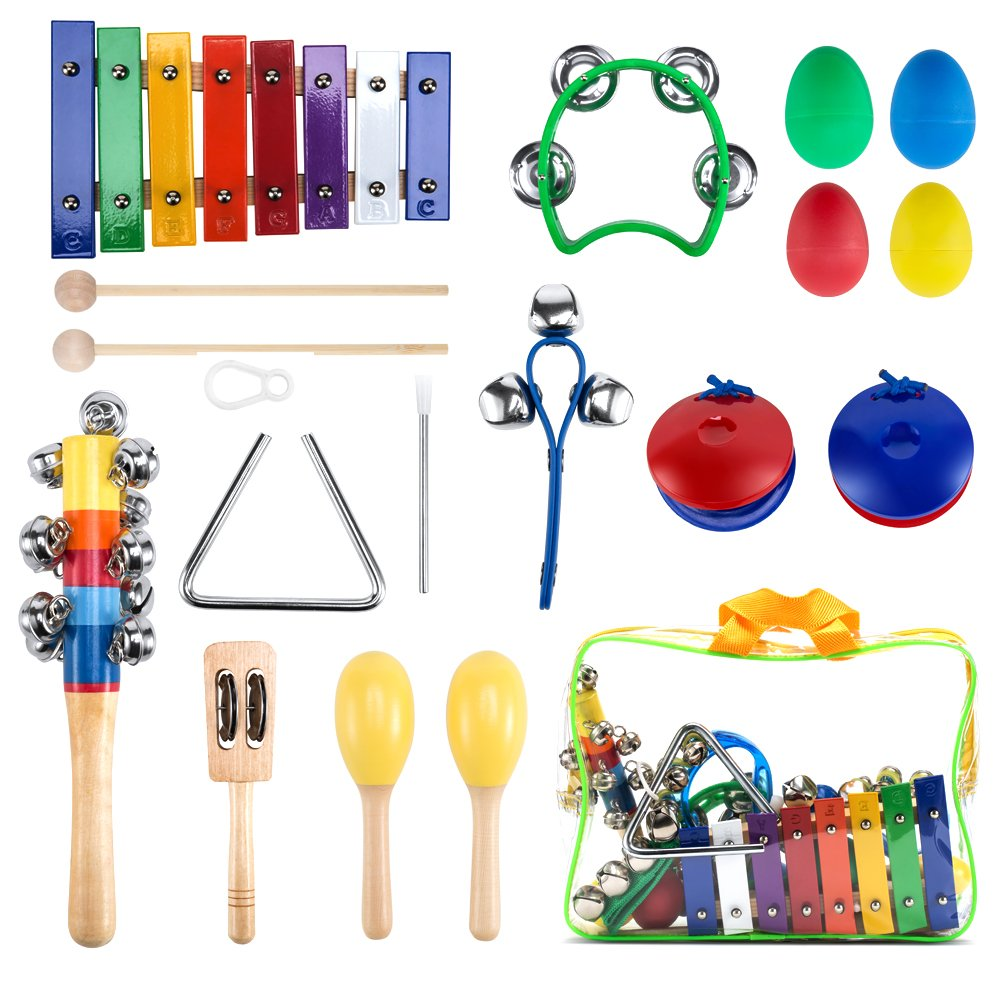 WONYERED Kids 11PCS Musical Instruments for Kids Maracas Shakers Xylophone Percussion Baby Toy Set Preschool Educational Early Learning Rhythm Tools