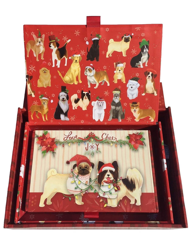 Large 61889 Punch Studio Festive Dogs Tangled Decorative Holiday Cigar Nesting Box