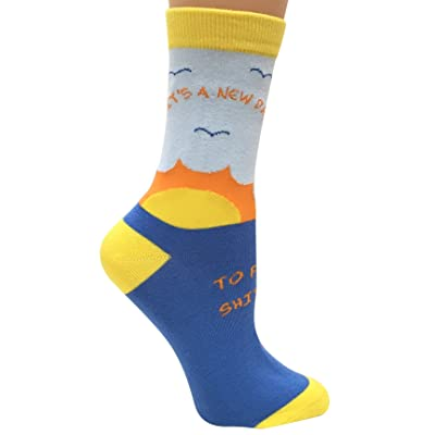 """It's a New Day to F&ck Sh&t Up"" Anydaze Women's Crew Socks, Combed Cotton & smooth toe at Amazon Women's Clothing store"