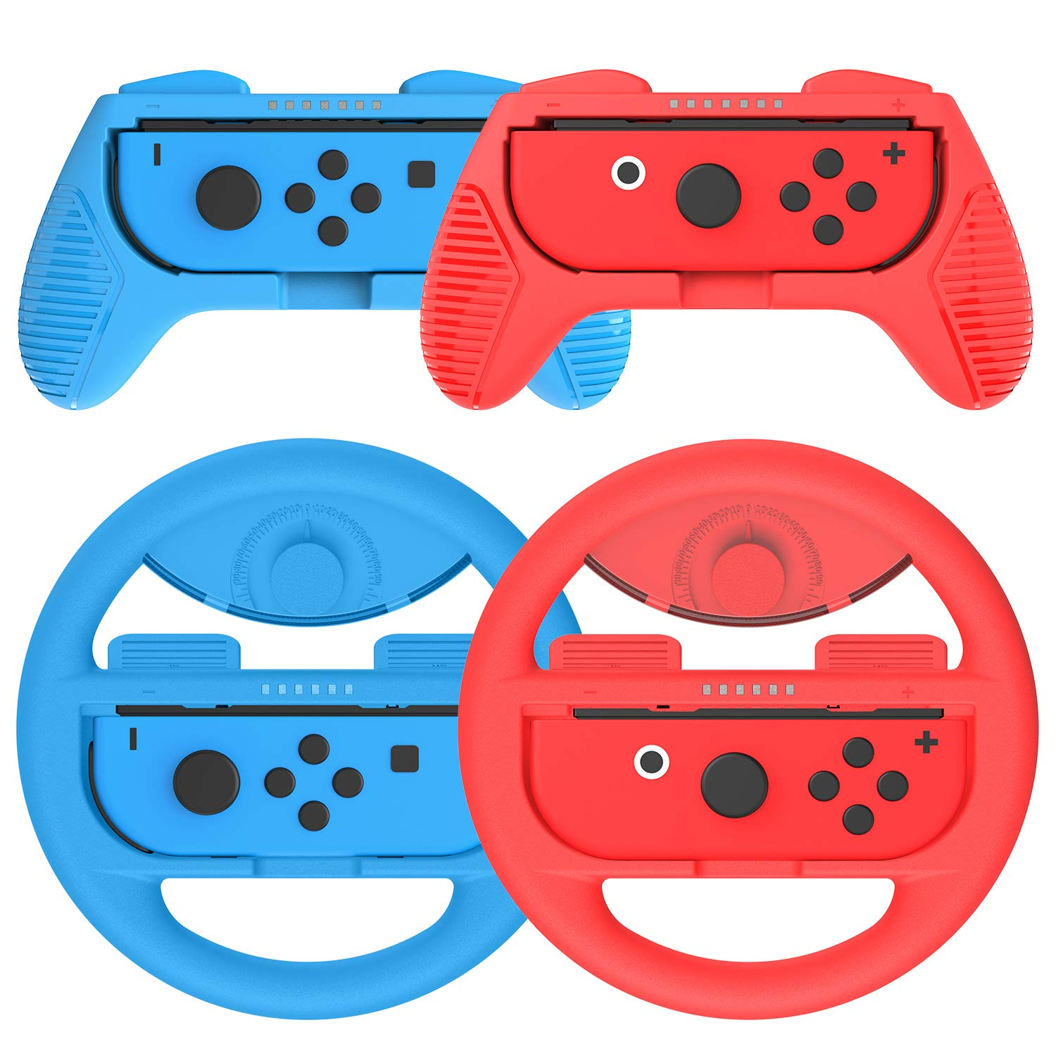 Joy-Con Grip (2 Pack) Joy-Con Steering Wheel (2 Pack) for Switch Joycon, Momen Game Hand Grip Accessory Kit Cover Case for N-Switch Joy-Con Controller (Blue, Red) by momen