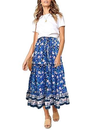 b65bd67bebf2 ZESICA Women's Bohemian Floral Printed Elastic Waist A Line Maxi Skirt with  Pockets Blue