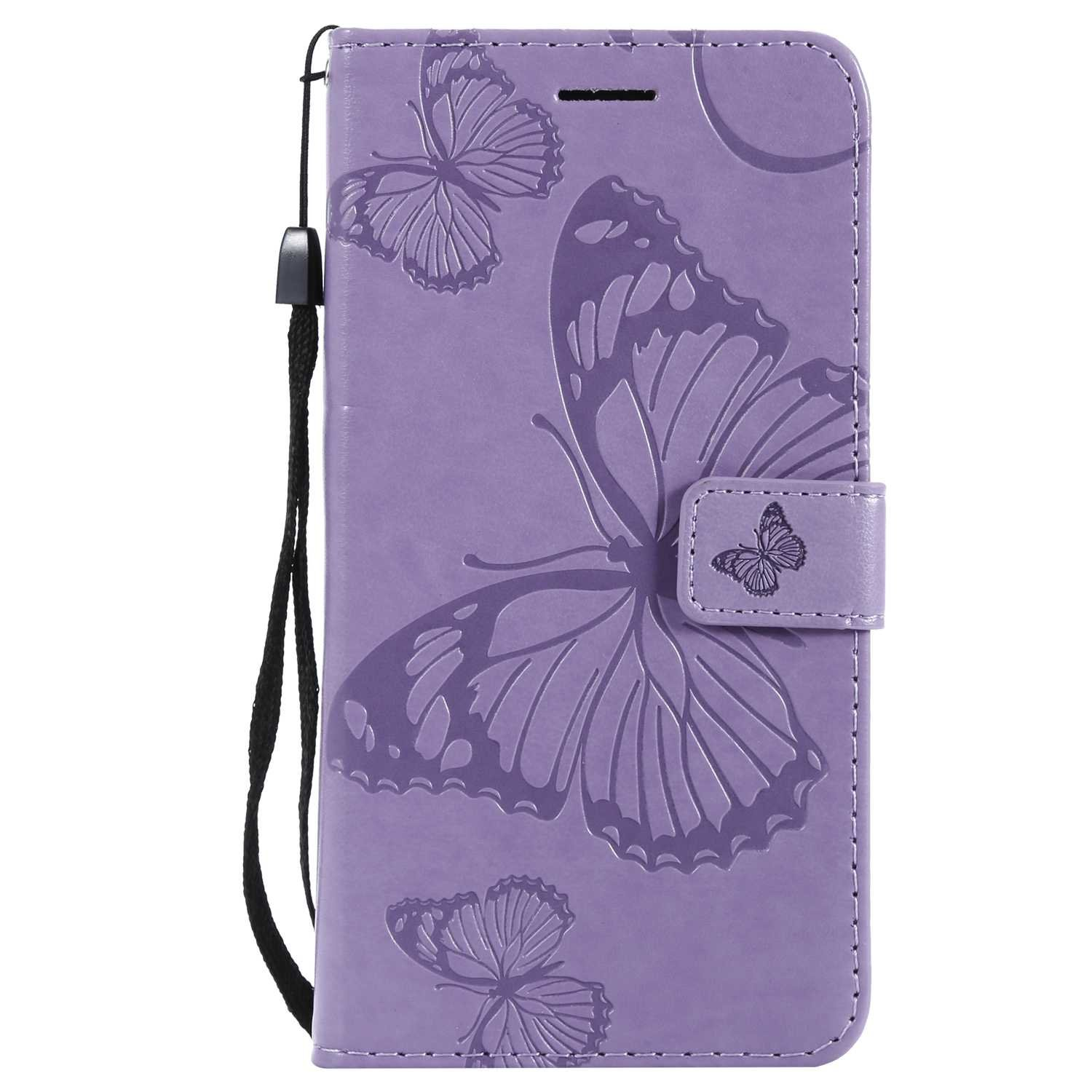 CUSKING Case for Samsung Galaxy J7 2016, Leather Flip Cover Magnetic Wallet Case with Butterfly Embossed Design, Case with Card Holders and Kickstand - Purple