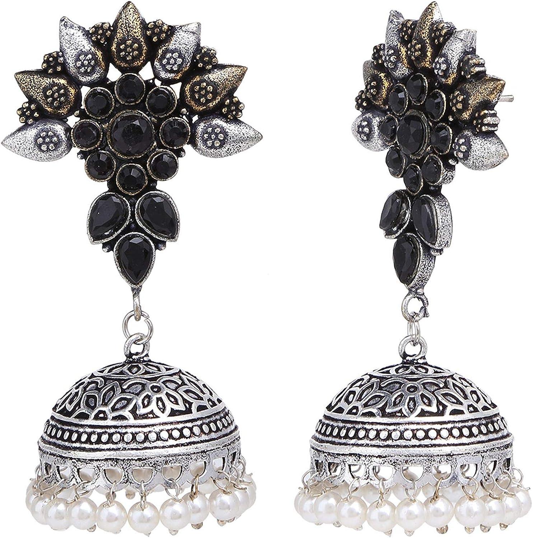 Efulgenz Boho Vintage Antique Ethnic Gypsy Tribal Indian Oxidized Silver Face Religious Stud Earring Set Jewelry