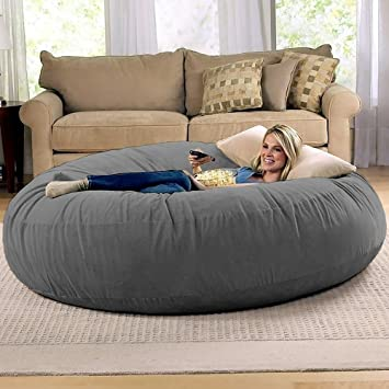 Lovely Jaxx 6 Foot Cocoon   Large Bean Bag Chair For Adults, Charcoal