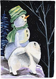 Caroline's Treasures SS8557GF Snowman with Keeshond Flag Garden Size, Small, Multicolor