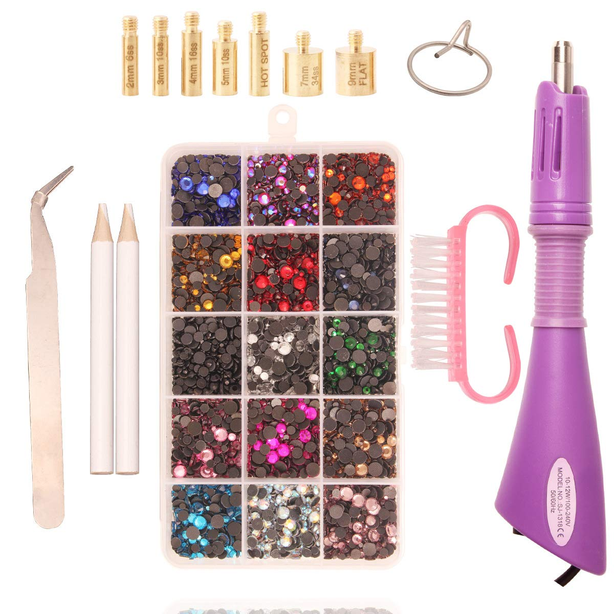 Hotfix Applicator, DIY Flatback HotFix Glass Rhinestone Applicator Wand Setter Tool Kit with 5 Different Sizes Tips, Tweezers & Brush Cleaning kit and 12000pcs Pack Hot-Fix Crystal Rhinestones by Meicry beads